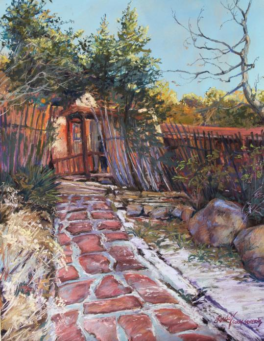 Divine Light pastel landscape by Texas artist Lindy Cook Severns. Bishops Lodge in Santa Fe snow