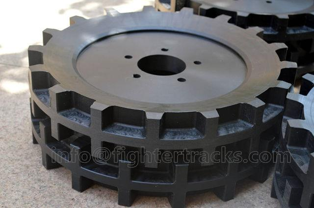 drive sprockets for rubber tracked vehicles