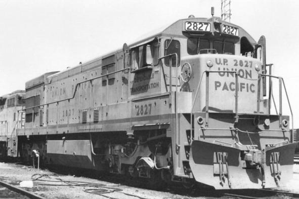 Union Pacific Railroad GE U30C diesel locomotive No. 2827 at the UP Argo Yard, Seattle, Washington, 1972. Photograph by S.L. Dixon.