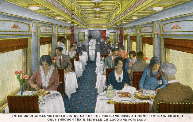 Postcard depiction of the dining car on the Union Pacific Portland Rose.