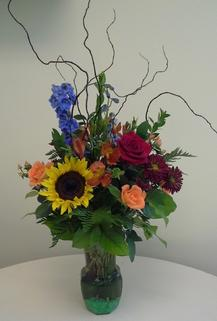 NB-VMIX Sunflower, Delphinium, Rose, Daisy, Hypericum, Curly Willow