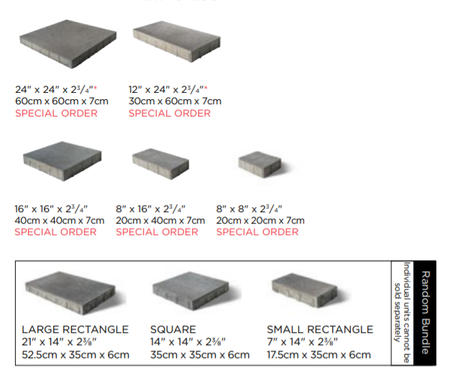 Unilock Umbriano Paver Size and Shape Information