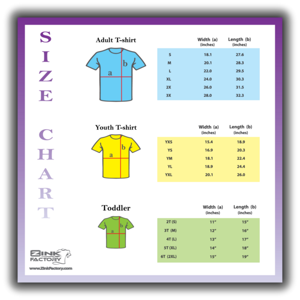 Shirt Size Chart, Adult, Youth, Toddler