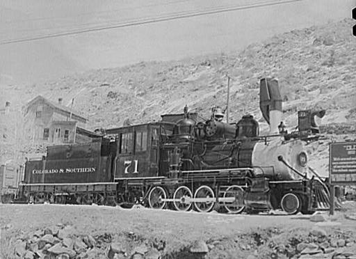 "The Old 71 engine of the Colorado and Southern Railroad, which carried ore and passenger cars from Denver to ""the richest square mile on earth."" May, 1942."