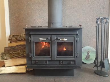 Picture of wood stove with glass