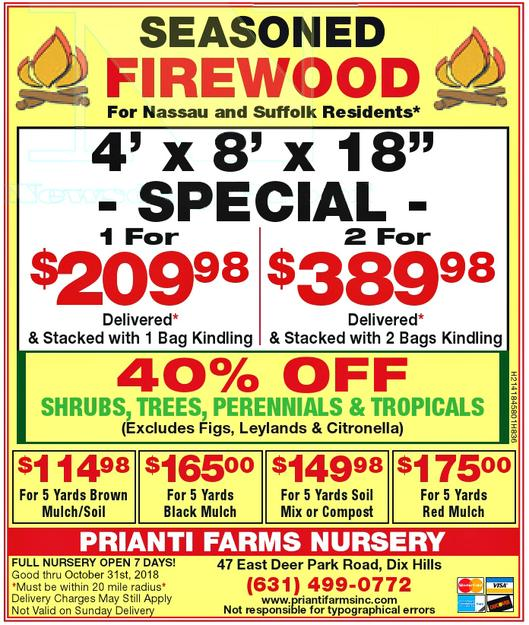 Firewood Seasoned Prianti Plant Herbs Vegetables Flower Savings Special Sale Shrubs Trees Mulch Topsoil Compost Delivery Nursery Long Island
