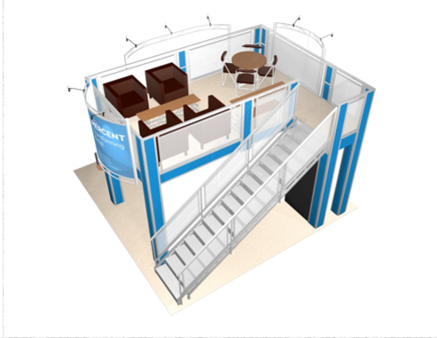 Mercent double deck trade show booth top view.