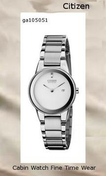 Watch Information Brand, Seller, or Collection Name Citizen Model number GA1050-51A Part Number GA1050-51A Model Year 2013 Item Shape Round Dial window material type Mineral Display Type Analog Clasp Fold over clasp Metal stamp None Case material Stainless steel Case diameter 30 millimeters Case Thickness 7 millimeters Band Material Stainless steel Band length Women's Standard Band width 16 millimeters Band Color Silver Dial color Silver Bezel material Stainless steel Bezel function Stationary Calendar Date Special features Silver-Tone Dial, Date Display Item weight 4 Ounces Movement Japanese quartz Water resistant depth 99 Feet,citizen watch