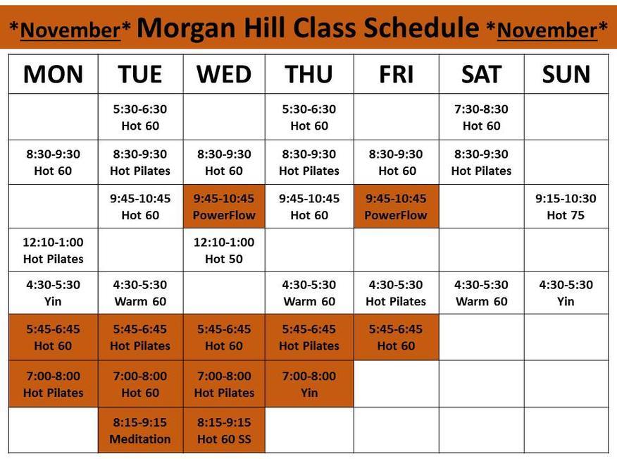 Morgan Hill Class Schedule – Class Schedule