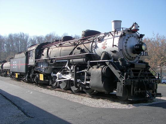 A USRA Light Mikado steam locomotive with a 2-8-2 wheel arrangement, located at the Museum of Transportation in St. Louis, MO.