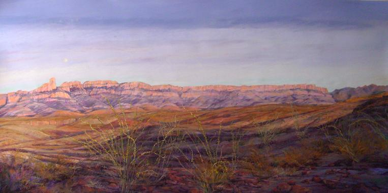 Moonrise, Big Bend pastel landscape painting by Big Bend Artist Lindy Cook Severns