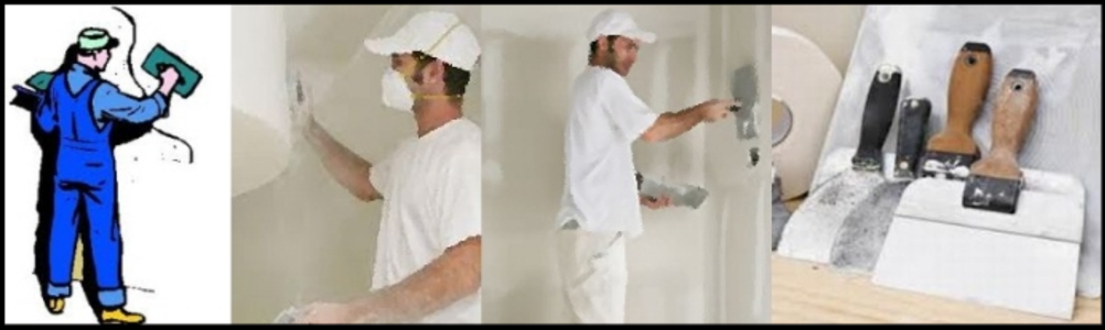 professional plaster at work with tools