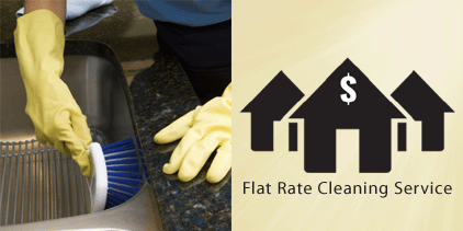 Always Ready Cleaning offers flat rate cleaning. Picture of a maid scrubbing a sink.