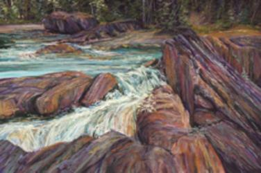 Tumultuous Splendor, Canadian Rockies rapids in a 12 x 18 pastel painting by Texas artist Lindy C Severns