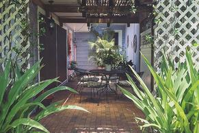 Beautiful and shaded Garden Terrace is a Siesta Key Bungalow vacatino rental with private space.