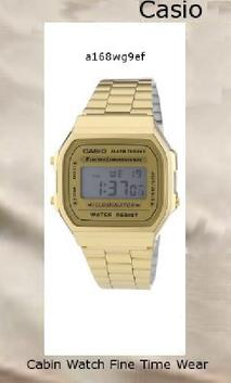 Watch Information Brand, Seller, or Collection Name Casio Model number A168WG-9 Part Number A168WG-9WDF Item Shape Square Dial window material type Mineral Display Type Digital Case diameter 36 millimeters Band Material Stainless Steel (Gold Plated) Band width 22 millimeters Band Color Gold Dial color Gold Special features casio gold stainless steel watch Movement Japanese quartz