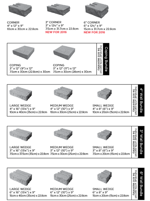 Unilock Estate Wall Sizes and Dimensions