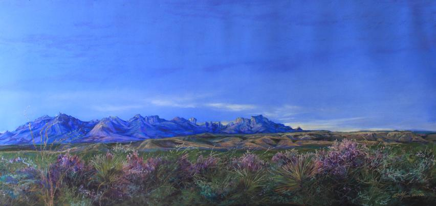 Dawn Bloom original pastel landscape painting of Big Bend National Park by Lindy C Severns, Fort Davis artist