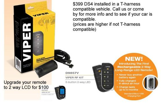 Car alarm remote start directed ds4 sale offer for vehicles that use a harness call for details 831-394-1700 viper premier dealer.