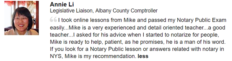 Notary Class Endorsement NY State Legislative Department