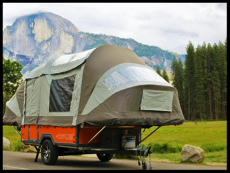 the air opus inflatable camper set up for camping
