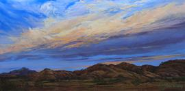 Sunset Storm, pastel landscape of Davis Mts ranchland and sky by Lindy C Severns