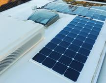 Solar 4 RVs flexible solar panels on a caravan roof