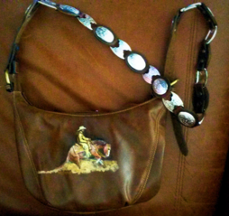 Reining horse hand painted leather purse