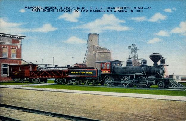 "An earlier postcard rendition of the ""3 Spot"", the first locomotive on the Duluth & Iron Range Railroad."