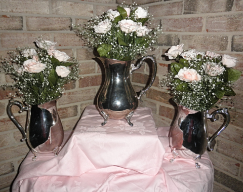 Silver plated tea pitchers and water pitchers for your ladies' tea