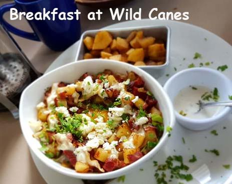 A plate of Wild Canes breakfast hash along side baked apples.