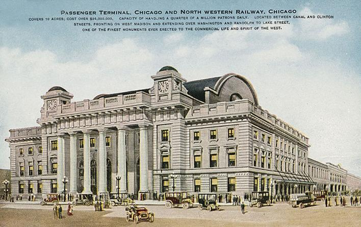 A postcard depiction of the Chicago and North Western Passenger Terminal, circa 1910.