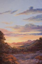Morning Has Broken oil landscape painting by Lindy Cook Severns, sunrise over far West Texas