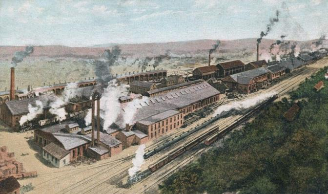 Postcard depiction of the American Car & Foundry plant, Milton, Pennsylvania, ca. 1909.