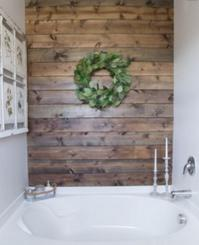 Reclaimed wood detail bathroom Seal Beach