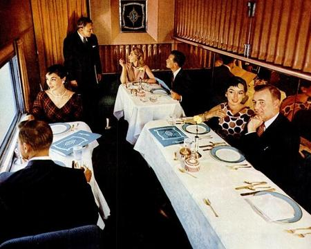 The beautiful Turquoise Room on Santa Fe's Super Chief in 1955.