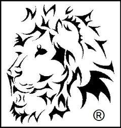 Lions head image black and white with a federal register trademark
