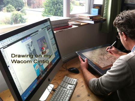 Photograph of the Cartoonist at work making a cartoon logo