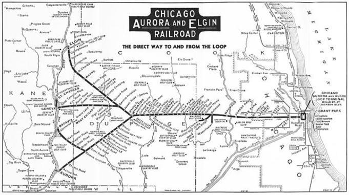 A Map of the Chicago Aurora and Elgin Railroad from a 1936 public timetable folder.