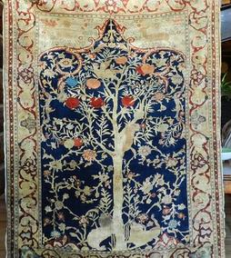 antique Heriz silk rug