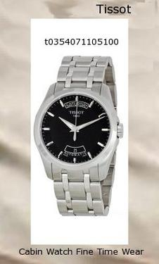 Watch Information Brand, Seller, or Collection Name Tissot Model number T0354071105100 Part Number T0354071105100 Item Shape Round Dial window material type Anti reflective sapphire Display Type Analog Clasp Deployment Clasp Case material Stainless steel Case diameter 39 millimeters Case Thickness 11 millimeters Band Material Stainless steel Band length Men's Standard Band width 22 millimeters Band Color Silver Dial color Black Bezel material Stainless steel Bezel function Stationary Calendar Day and date Special features Second hand, Luminous Movement Swiss Automatic Water resistant depth 330 Feet