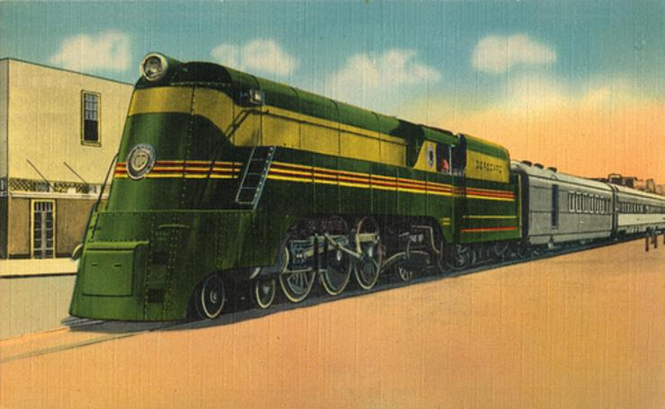 A postcard rendition of a Seaboard Air Line's streamlined Class P Pacific locomotive.