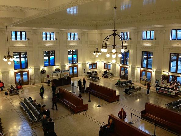 The interior of Seattle King Street Station after remodeling, December 2014.