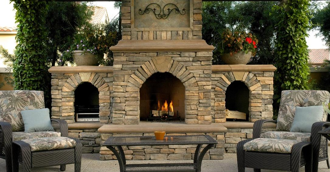 outdoor fireplace construction and installation with natural stone veneer atlanta georgia