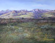 Ranch country in the high desert of Far West Texas, In the Softness of A Davis Mountains Summer 8x10 pastel by Texas artist Lindy C Severns