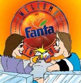 cartoon couple advertising for Fanta with logo