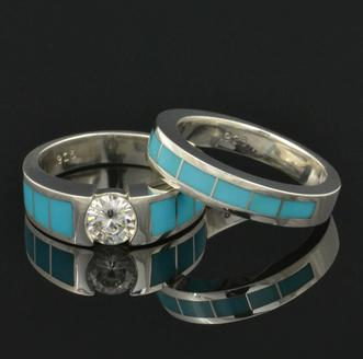 Turquoise engagement ring and turquoise wedding ring in sterling silver.