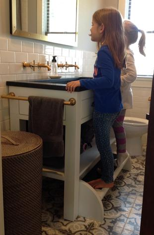 Humming Bird Woodworks Bath Cabinets Step Up Kids Vanity