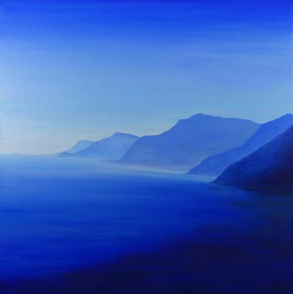 Light Blue Italian Coast. 60x60cm. Original contemporary representational blue seascape painting by Irish landscape artist Orfhlaith Egan. Private collection Annapolis, Maryland, USA.