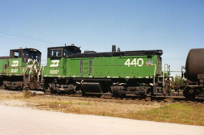 Burlington Northern Railroad No. 440, an EMD SW1000 working the yard at Eola, Illinois, September 1992.